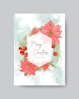 Carte de noël aquarelle avec fond de fleurs