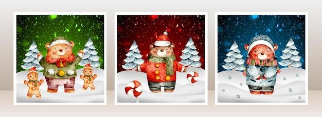 Carte de noël aquarelle ours dans la neige