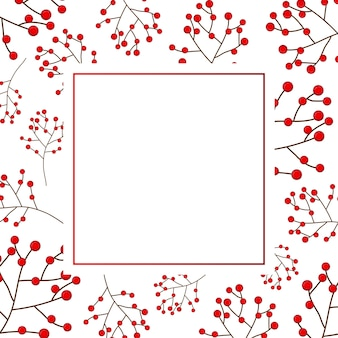 Carte de noël aux baies rouges sur une bannière blanche