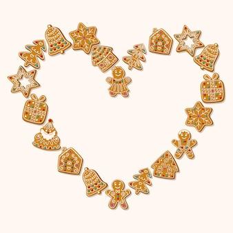 Carte de noël avec des biscuits de pain d'épice pliés en forme de coeur sur fond blanc. illustration vectorielle.