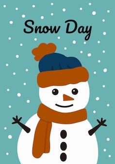 Carte de noël avec bonhomme de neige