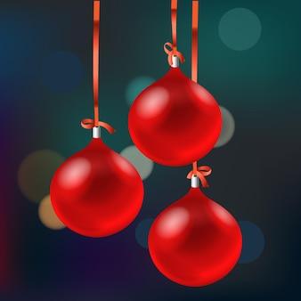 Carte de noël avec des boules rouges. joyeux noel et bonne année
