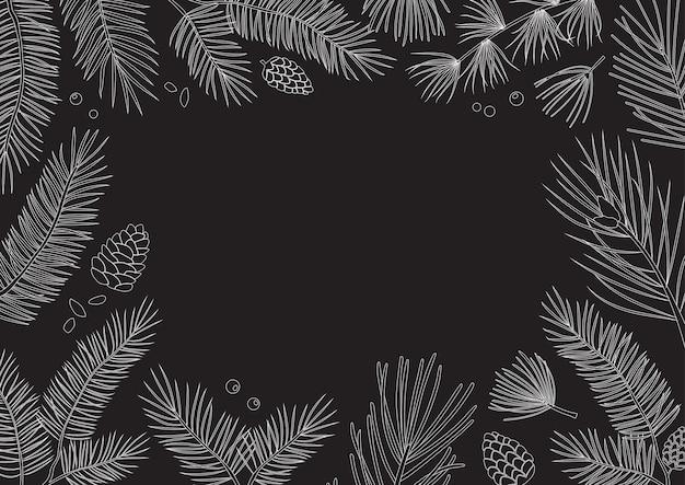 Carte de noël, cadre vintage. branches d'arbres, cônes de sapin et de pin, dessinés à la main à feuilles persistantes. illustration