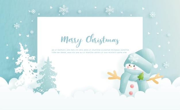 Carte de noël, célébrations avec bonhomme de neige mignon, espace copie et scène de noël, illustration.