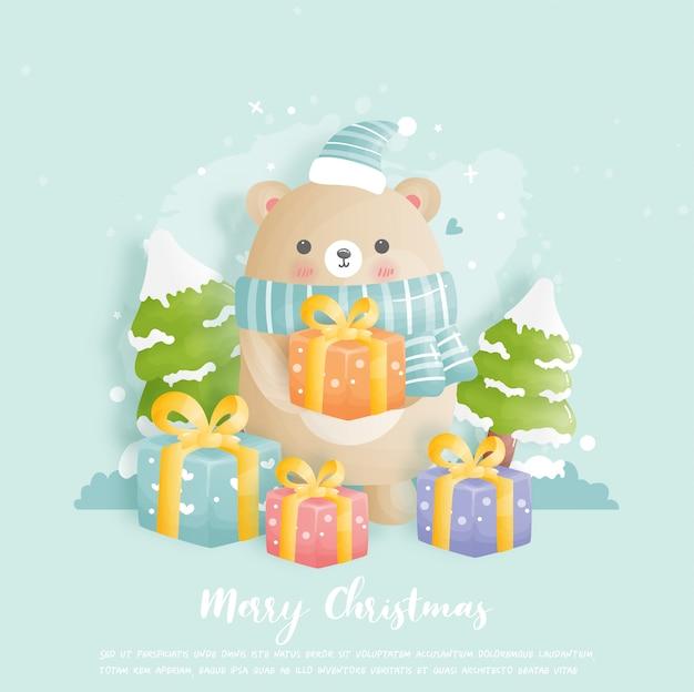 Carte de noël, célébrations avec ours mignon tenant illustration de boîte-cadeau.