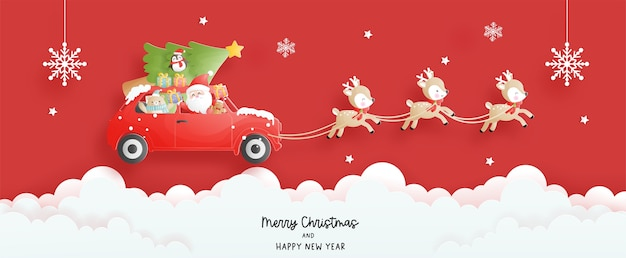 Carte de noël, célébrations avec le père noël et le renne dans la voiture, scène de noël pour la bannière