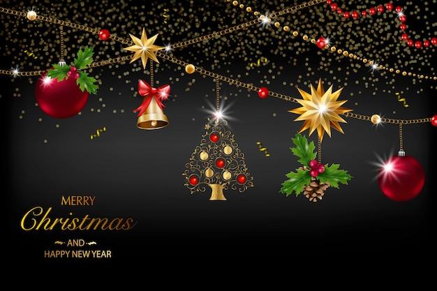 Carte de noël avec une composition d'éléments festifs tels que l'étoile d'or, les baies, les décorations pour l'arbre de noël, les branches de pin. joyeux noel et bonne année. décoration de paillettes, or
