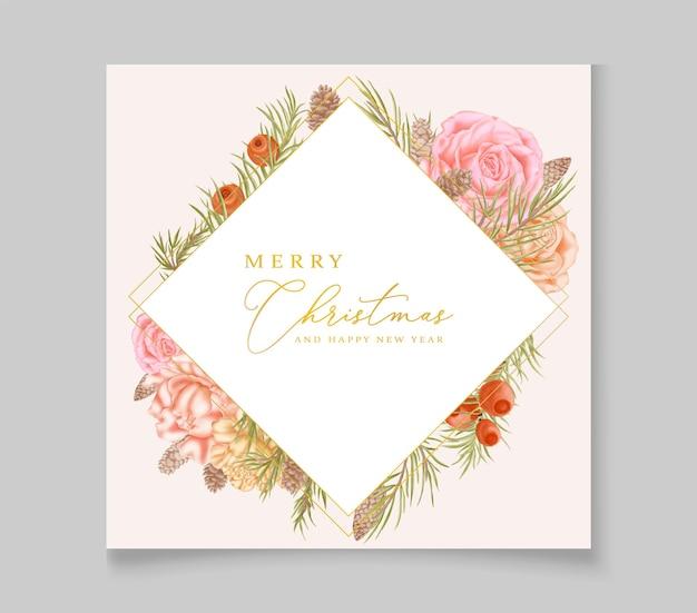 Carte de noël dessinée à la main avec cadre floral