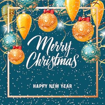 Carte De Noël Et Du Nouvel An Avec Des Chutes De Neige Vecteur gratuit