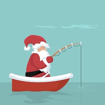 Carte de noël du père noël pêchant dans son bateau