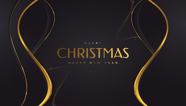 Carte de noël élégante en noir et or. joyeux noël et bonne année carte de voeux ou d'invitation