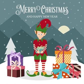 Carte de noël avec elfe et coffret cadeau