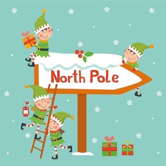 Carte de noël avec des elfes et signe du pôle nord.