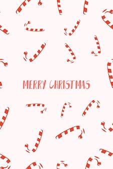 Carte de noël avec félicitations et cannes à sucre et/ou nouvel an