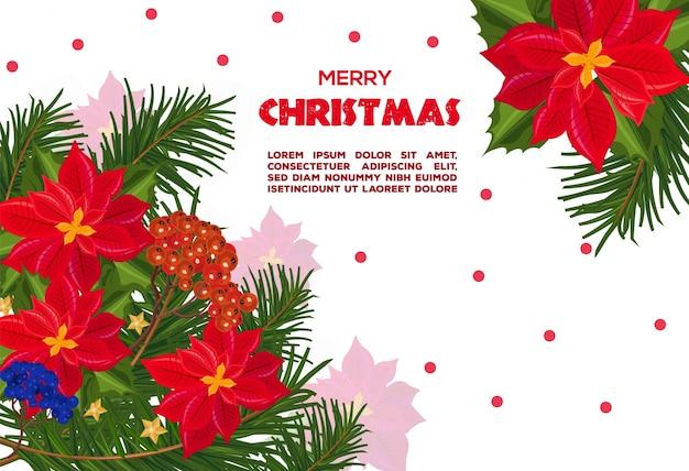 Carte de noël de fleurs de poinsettia rouge. milieux festifs rétro