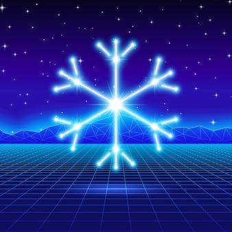 Carte de noël avec flocon de neige au néon des années 80