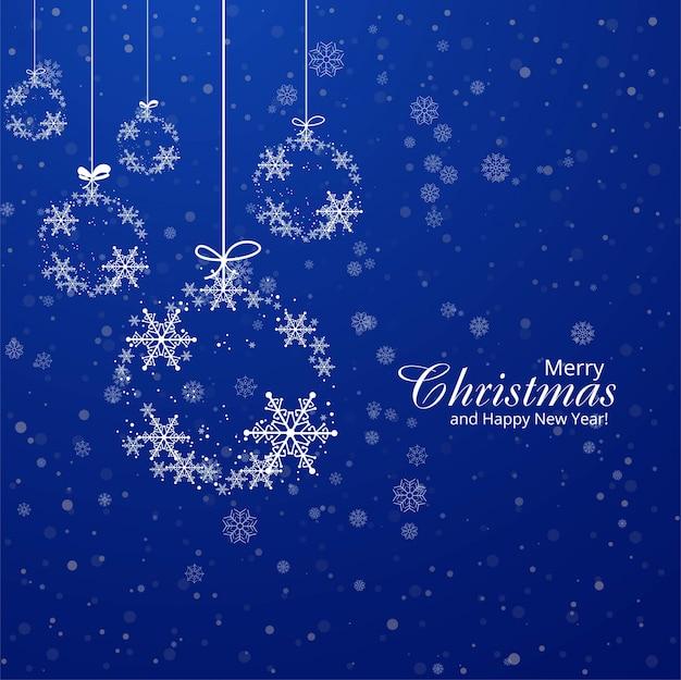 Carte de noël flocons de neige boule décoratif fond bleu