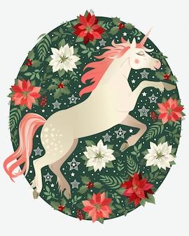 Carte de noël avec illustration de la licorne fond de fleur de poinsettia. illustration vectorielle