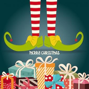 Carte de noël avec des jambes d'elfe et des cadeaux