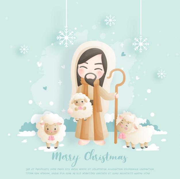 Carte De Noël Avec Jésus Et Ses Moutons. Vecteur Premium