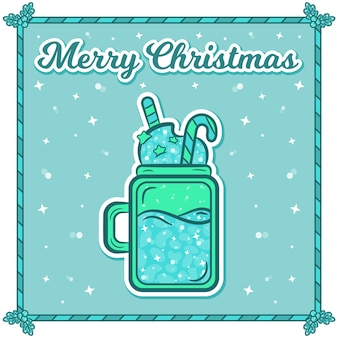 Carte de noël joyeux avec autocollant de boisson