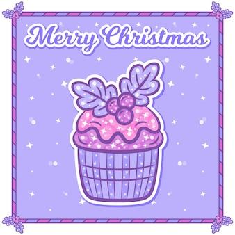 Carte de noël joyeux avec autocollant cupcake
