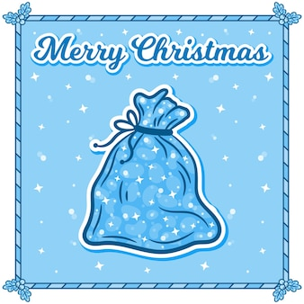 Carte de noël joyeux avec autocollant de sac de cadeaux