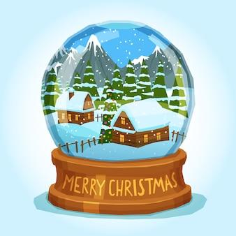 Carte de noël joyeux globe de neige