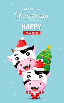 Carte de noël joyeux avec une vache mignonne portant un costume de noël