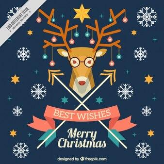 Carte de noël merry avec des flocons de neige et des rennes hipster