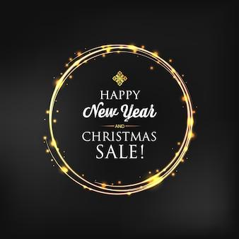 Carte de noël et nouvel an avec anneau lumineux brillant et texte de voeux sur dark