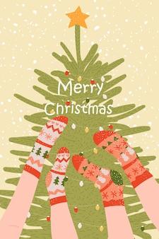 Carte de noël nouvel an avec chaussettes et arbre affiche d'hiver de dessin animé avec arbre et jambes modèles