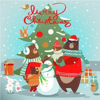 Carte de noël avec ours et bonhomme de neige