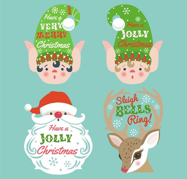 Carte De Noël Avec Le Père Noël, Les Rennes Et Les Elfes. Vecteur Premium