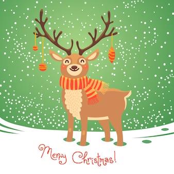 Carte de noël avec le renne. cerf de dessin animé mignon. illustration vectorielle