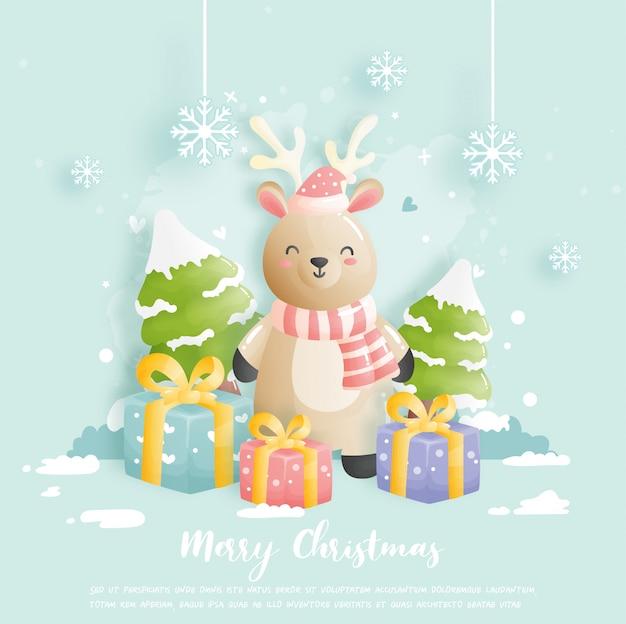 Carte de noël avec rennes et coffrets cadeaux.
