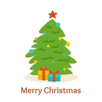 Carte de noël, style cartoon. arbre avec des boîtes de cadeaux. dessin d'arbre de noël vert à la main. symbole traditionnel à la conception du nouvel an. illustration sur fond blanc