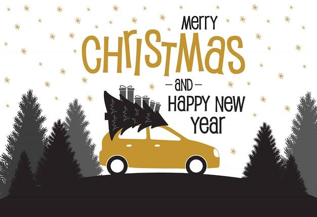 Carte de noël avec voiture et arbres de noël et des cadeaux.