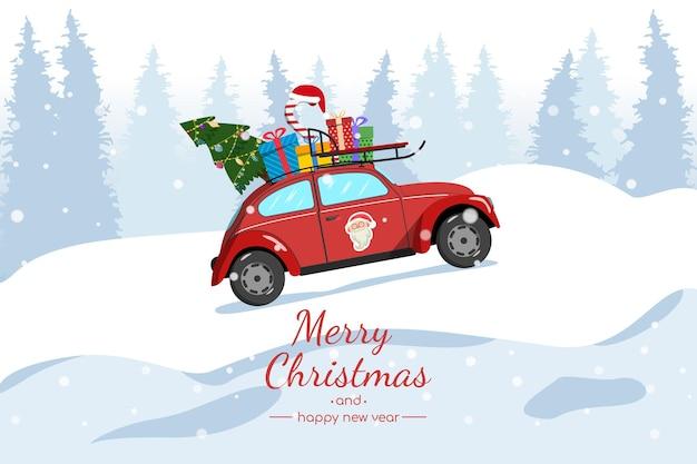 Carte de noël. une voiture rouge porte un arbre de noël et des cadeaux.