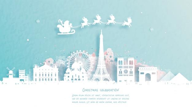 Carte de noël avec voyage à paris, france concept. père noël mignon et renne. point de repère mondialement connu