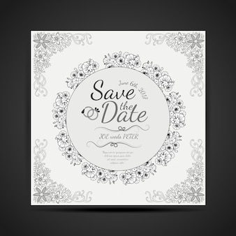 Carte noire et blanche dessinée à la main dessin mandala design invitaion