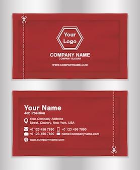 Carte de nom d'entreprise simple rouge thème sachets packaging design