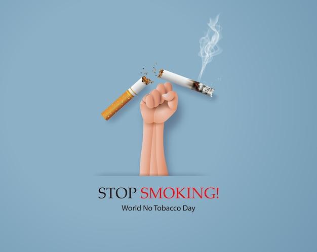 Carte non fumeur et journée mondiale sans tabac avec anti-cigarette à la main dans un style de collage de papier avec artisanat numérique