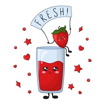 Carte avec de la nourriture kawaii de jus de fraise sucrée et de baies