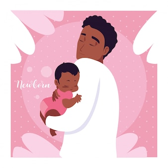 Carte nouveau-né avec papa afro et mignon petit fils