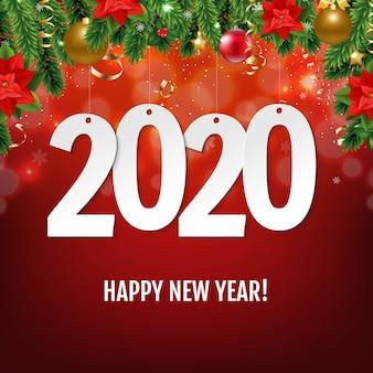Carte de nouvel an avec bordure de noël