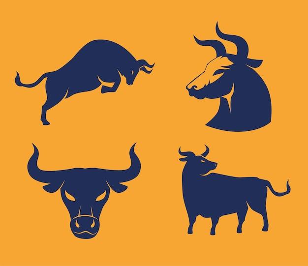 Carte de nouvel an chinois avec des silhouettes de bœufs