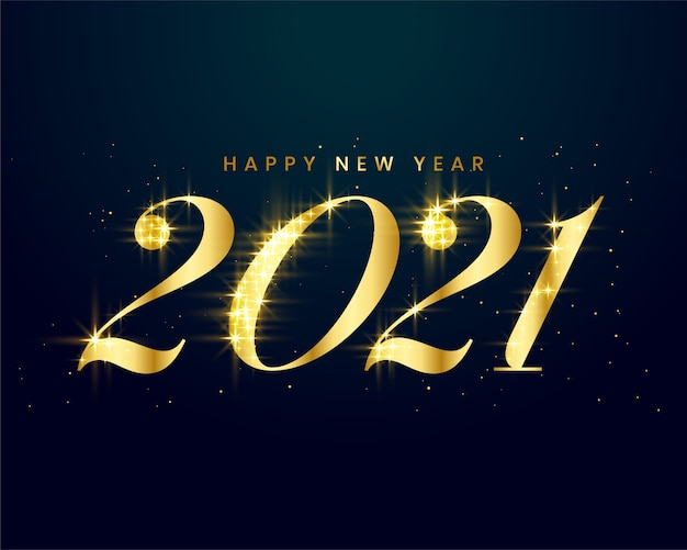 Carte de nouvel an dorée avec des étincelles