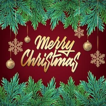 Carte de nouvel an avec une guirlande verte de branches d'arbres de noël avec des décorations et des lettres