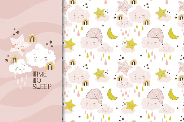 Carte de nuages et étoiles d'objets drôles dessinés à la main et illustration de modèle sans couture. l'heure de dormir.